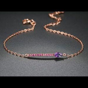 Amethyst & Rose Gold Plated Bracelet 10850